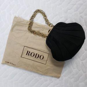 Rodo black satin formal purse